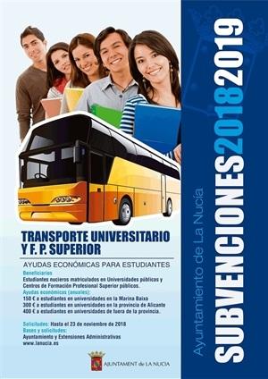 Cartel de la subvención del Transporte Universitario y FP Grado Superior